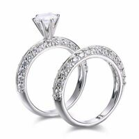 SFCH09 .925 Sterling Silver Round Cut CZ Engagement Wedding Ring Set Size 6,7,8
