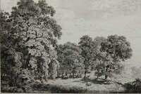 J.KLENGEL (1751-1824) Bauernhof am Waldrand, Kuhherde auf Lichtung, Radierung