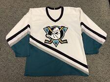 Vintage Anaheim Mighty Ducks Hockey Jersey M Medium Ccm White Retro Sweater Nhl