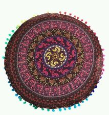 NEW Indexp Round Pillowcase Indian Bohemian Mandala Floor cushion Cover (Wine)