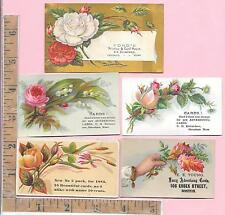 5 ADVERTISING CARD BUSINESS CARDS FLOWERS STONEHAM BOSTON CHELSEA MA 0684