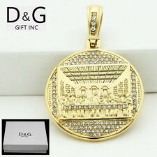 Last Supper Cz Pendant*Unisex*Box Dg Men's Stainless-Steel,Gold,Jesu s