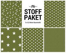 Stoffpaket oliv 5x (0,5 x 1,50m) Patchworkpaket Baumwolle Nähpaket DIY Stoffe