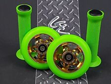 Gold Pro Star Green Metal Core Scooter Wheels x2 + Grips + GK Grip Tape