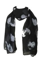 Black Grey White Hearts Scarf Heart Print Scarves Ladies Gift Winter Present New