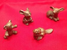 Pewter Animal Figurines Deer Bear Squirrel Mouse Group Of 4