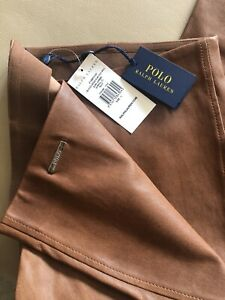 Polo Ralph Lauren Soft Leather Skinny Trousers Size Large Tan