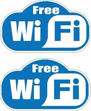 """Pair (2) Small FREE WIFI stickers/decal for Internet Restaurant 1.15"""" x 2"""" p109"""