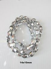 20pcs 14x10mm faceted silver electroplate oval glass loose beads craft UK