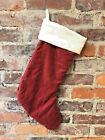 "Dark Red Velveteen Pottery Barn Christmas Stocking Ivory Cuff  2010 20"" C1"