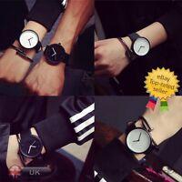 Men Women Fashion Watch Steel Case Leather Quartz Analog Couple's Wrist Watches