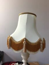 "PRELOVED BEIGE FRINGED LAMP SHADE11"" TALL - 6"" X12"" BOTTOM"