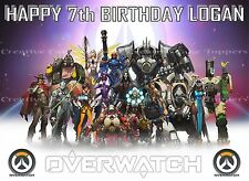 OVERWATCH XBOX GAME A4 EDIBLE ICING SHEET PERSONALISED BIRTHDAY CAKE TOPPERS
