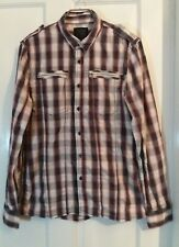 Mens FIRETRAP Red, Blue, White Checked Shirt Long Sleeve Size Medium