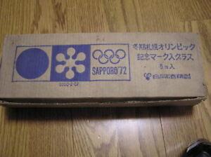 1972 SAPPORO OLYMPIC RARE SET OF GLASSES IN ORIGINAL BOX
