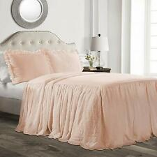 Blush Twin Full Queen King Size Solid Ruffled Farmhouse Bedspread Set Shams