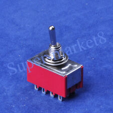 2PCS ON-ON 4PDT 12pin Terminal Red Toggle Switch Guitar Amp
