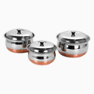 3 Pcs Stainless Steel Copper Bottom Handi Set Cook n Serve Bowls With Lid