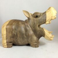 """Hippo Carved From Gray Hibiscus Wood With Excellent Details.7 Inches W By 5""""T ."""