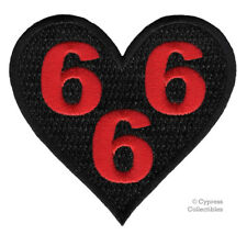 BLACK 666 HEART - IRON-ON PATCH NEW EMBROIDERED DEVIL SATANIC EVIL NUMBER BEAST