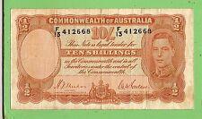 AUSTRALIAN TEN SHILLING 1939  R12 TYPE  SHEEHAN / McFARLANE BANKNOTE  F13 412668