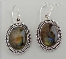 Hook Labradorite Stone Sterling Silver Handcrafted Earrings