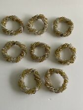Set of 8 Beaded Napkin Rings - Neutral Color Beads, Vintage Brass