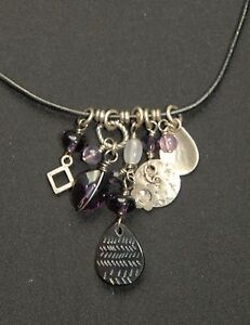 SILPADA - N1788 - Black Leather Amethyst Glass Black Pen Shell Necklace - RET