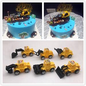 7*6cm 6Pc Mini Digger Tractor Birthday Cake Decoration