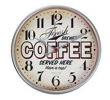 Fresh Brewed Coffee Served Here Retro Vintage Wall Clock, Quartz Movement - NEW