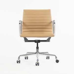 2008 Eames Herman Miller Low Aluminum Group Management Desk Chair Tan Naugahyde