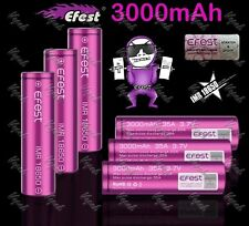 6 Purple Efest 3000mAh/35A IMR 18650 High Drain Flat Top Battery / Efest Cases