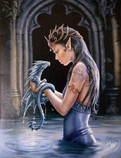 "Water Dragon Plaque by Anne Stokes on Quality Canvas 10"" x 7"""