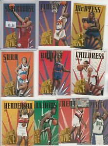90's INSERTS LOT (10/20) 1995-96 SKYBOX ROOKIE PREVUE STACKHOUSE FINLEY MCDY RC