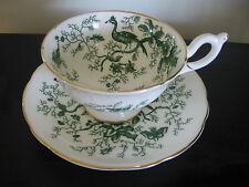 Coalport Green Bird Chintz China Tea Cup & Saucer