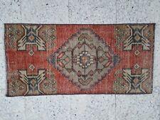1.5 X 3.1ft Vintage Turkish Oushak Bathroom Mat Rug, Handmade Frontdoor Doormats