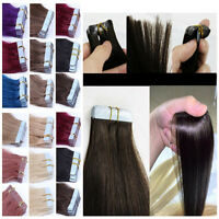 40-66CM EXTENSIONS DE REMY CHEVEUX PU TAPE IN BANDE ADHESIVE NATURELS 16-26Inch