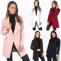 Women Ladies Tailored Long Coat Oversized Blazer One Button Loose Fashion Jacket