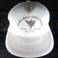 Wheat Harvest Snapback Trucker Hat National Festival 1988 OK Farmer OSFA Vtg