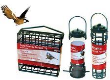 3 Hanging Bird Feeders Fatball Holder Suet Cage Wild Bird Seed Feeder Garden Nut