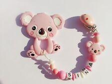 * Schnullerkette mit Beissanhänger * Nuckelkette * Baby * Silikon * Koala * rosa