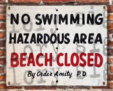Jaws Beach Closed Amity Island Sign Banner art movie pool No Swimming Hazardous