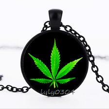 Wholesale dome Black Glass Cabochon Necklace Pendant Cannabis leaves