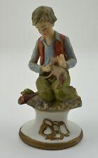 Boy Kneeling Dog Ceramic Figurine 6.75 Tall Collectible Home Decor Accent Figure