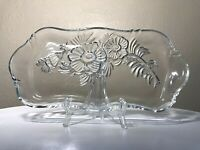 "Vintage 1950 Jeannette Glass Clear Camellia 11.75"" Dresser Vanity Perfume Tray"