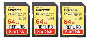 LOT of 3 SanDisk Extreme Plus 64GB SDXC 90MB/s Class 10 UHS-3 Card (REFURB)