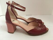 FENDI Laser-Cut Chameleon Ankle-Strap Sandals Cherry Sz 9 / 39.5 $900