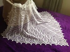 New White Hand knitted Baby Blanket  / Shawl : Square