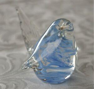HOKITIKA GLASS STUDIO FREEFORM BLUE BIRD FIGURINE N.Z.