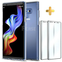 Case + Tempered Glass Screen Protector Samsung Galaxy Note 9 edge Cover Clear